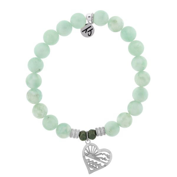 Green Angelite Bracelet with Seas the Day Sterling Silver Charm Coughlin Jewelers St. Clair, MI