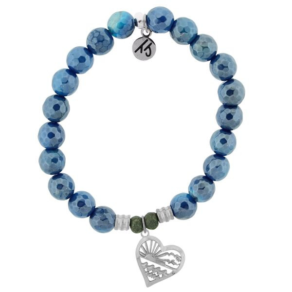 Blue Agate Stone Bracelet with Seas the Day Sterling Silver Charm Coughlin Jewelers St. Clair, MI