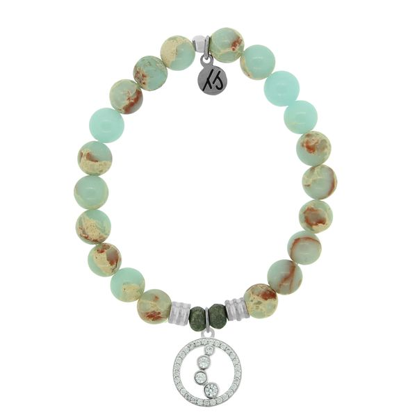 Desert Jasper Stone Bracelet with One Step At A Time Sterling Silver Charm Coughlin Jewelers St. Clair, MI