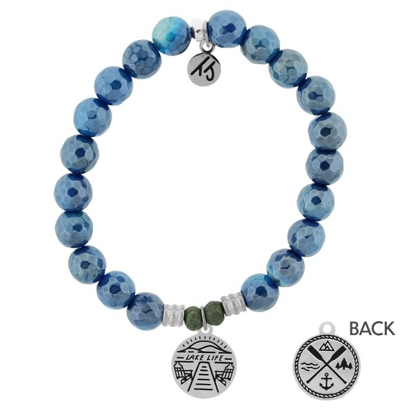Blue Agate Stone Bracelet with Lake Life Sterling Silver Charm Coughlin Jewelers St. Clair, MI