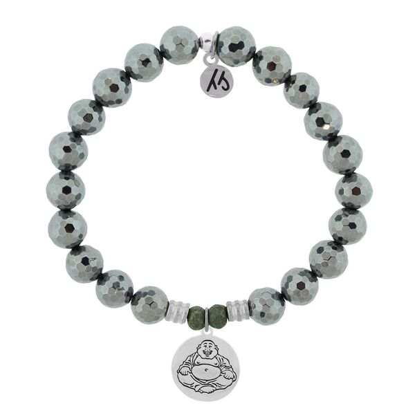 Terahertz Stone Bracelet with Happy Buddha Sterling Silver Charm Coughlin Jewelers St. Clair, MI