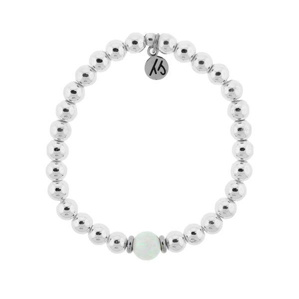 The Cape Bracelet - Silver Steel with White Opal Ball (Kid's Size) Coughlin Jewelers St. Clair, MI