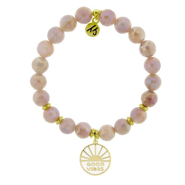Gold Collection - Orange Moonstone Stone Bracelet with Good Vibes Gold Charm Coughlin Jewelers St. Clair, MI