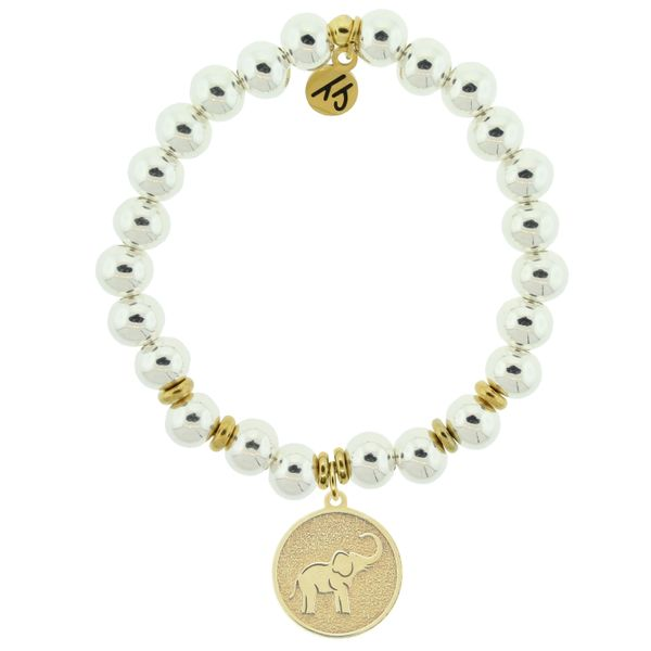 Gold Collection - Silver Steel Bracelet with Lucky Elephant Gold Charm Coughlin Jewelers St. Clair, MI