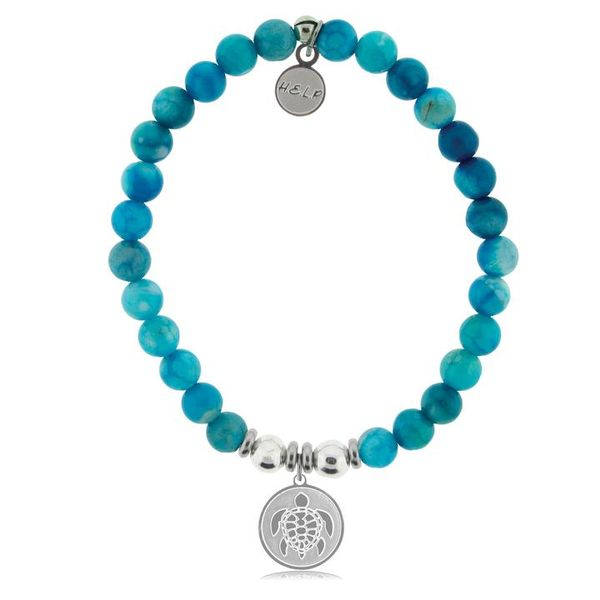 HELP Collection: Turtle Charm with Tropic Blue Agate Beads Charity Bracelet Coughlin Jewelers St. Clair, MI