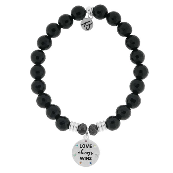 Onyx Stone Bracelet with Love Always Wins Sterling Silver Charm Coughlin Jewelers St. Clair, MI