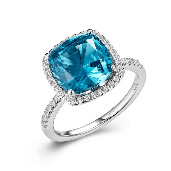 Simulated Paraiba Tourmaline Halo Ring Coughlin Jewelers St. Clair, MI