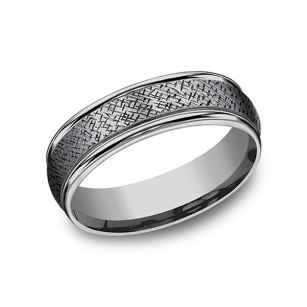 Tantalum Grey Metals Crosshatch Pattern Men's Wedding Band Coughlin Jewelers St. Clair, MI