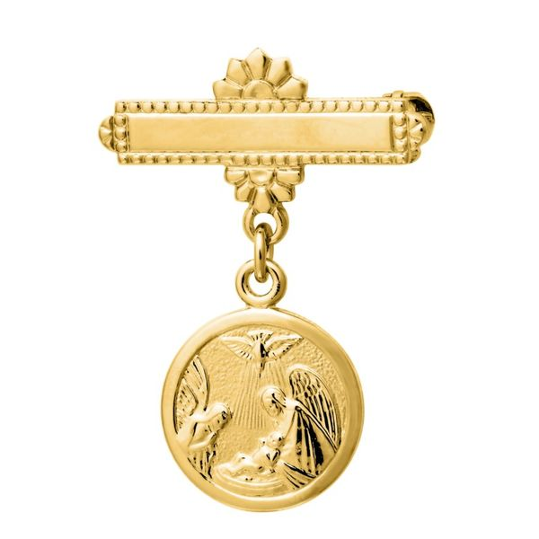 Children's Gold-Filled Bar Pin with Guardian Angel Medal Dangle Coughlin Jewelers St. Clair, MI