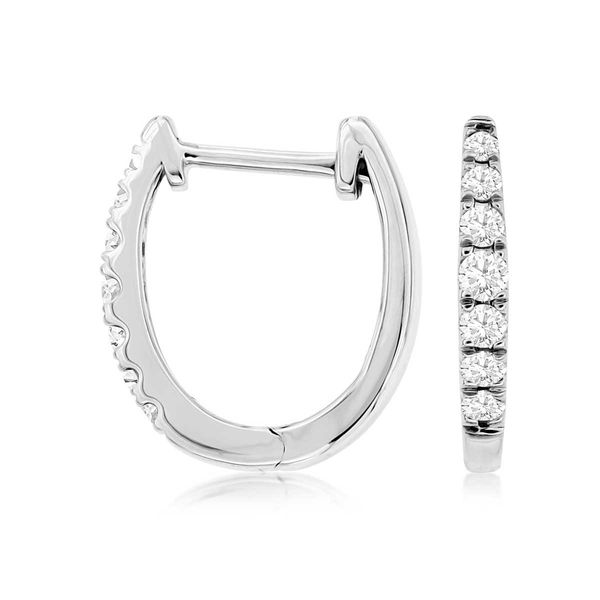 14k White Gold Diamond Hoop Earrings David Douglas Diamonds & Jewelry Marietta, GA