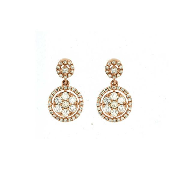14k Rose Gold Diamond Drop Earrings David Douglas Diamonds & Jewelry Marietta, GA