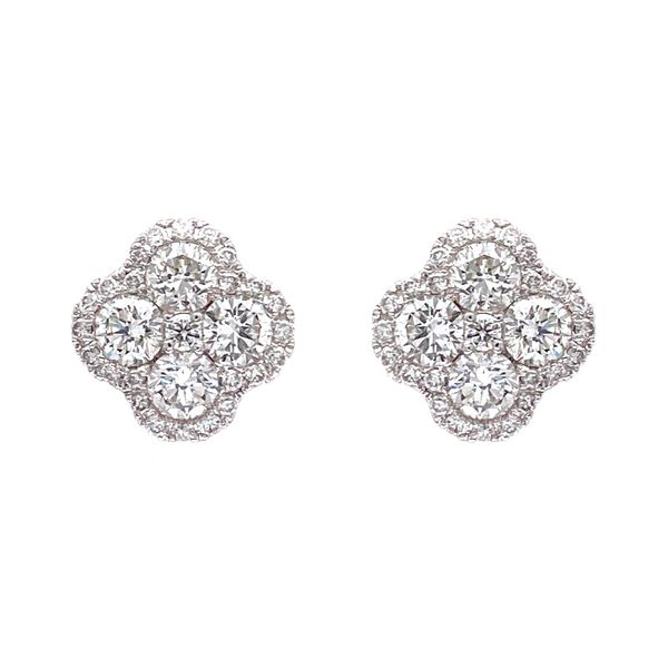 18k Cluster Halo Earrings Image 2 David Douglas Diamonds & Jewelry Marietta, GA