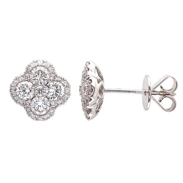18k Cluster Halo Earrings David Douglas Diamonds & Jewelry Marietta, GA