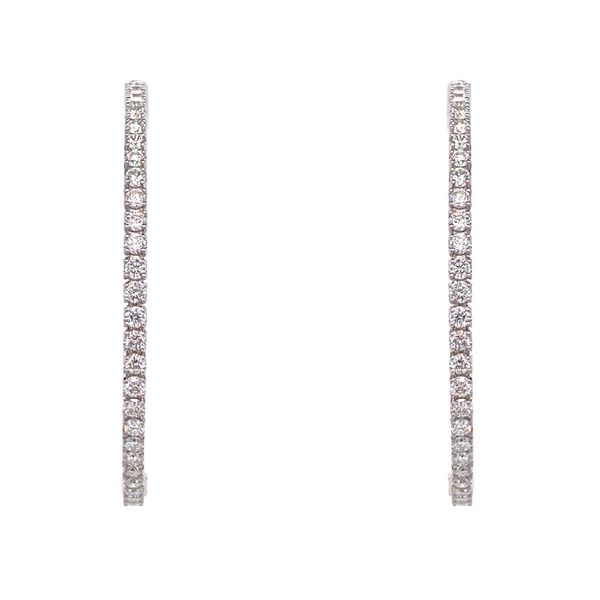 18k Diamond Hoop Earrings | 40 mm Image 2 David Douglas Diamonds & Jewelry Marietta, GA