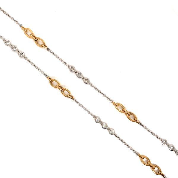 18k White & Yellow Gold Diamond Station Necklace David Douglas Diamonds & Jewelry Marietta, GA