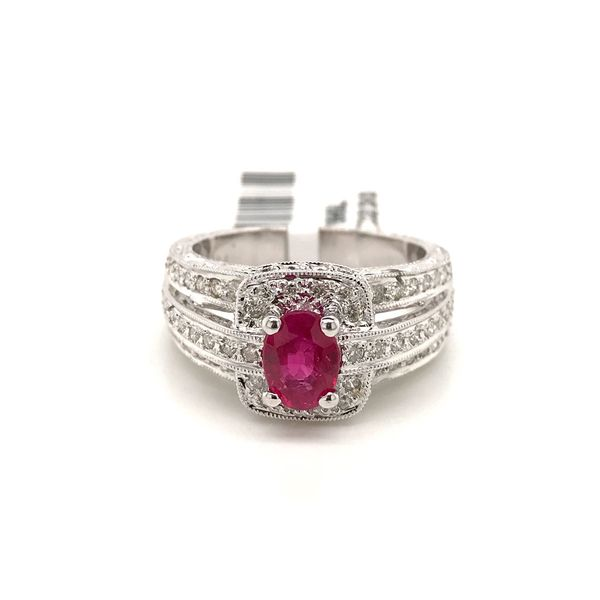18k White Gold Gemstone Halo Ring David Douglas Diamonds & Jewelry Marietta, GA