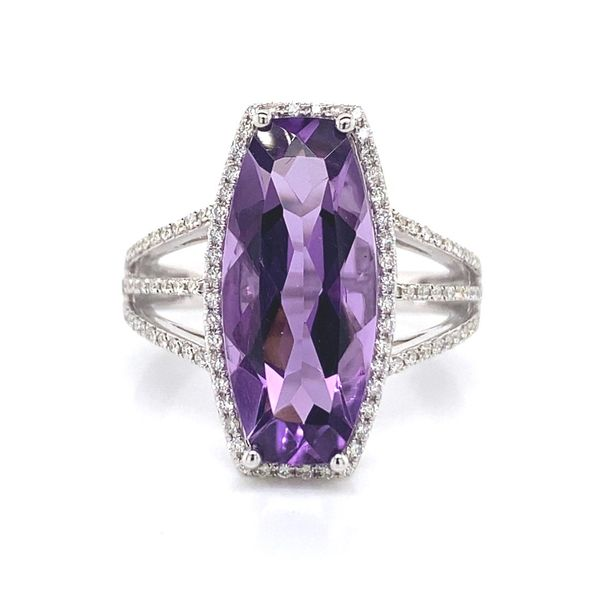 14k White Gold Halo Style Gemstone Ring David Douglas Diamonds & Jewelry Marietta, GA
