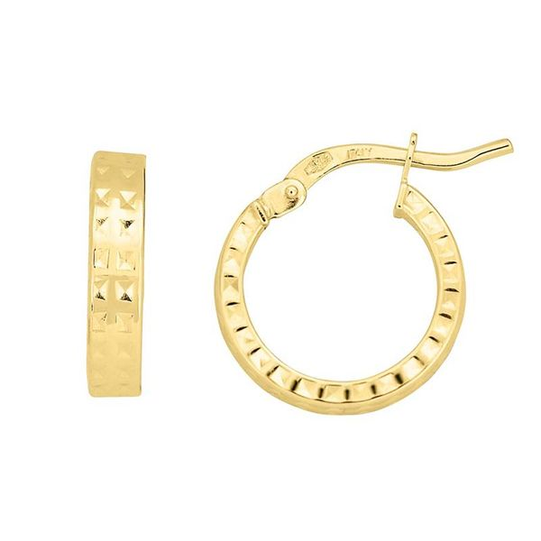 14k Fancy Hoop Earrings | 14 mm David Douglas Diamonds & Jewelry Marietta, GA