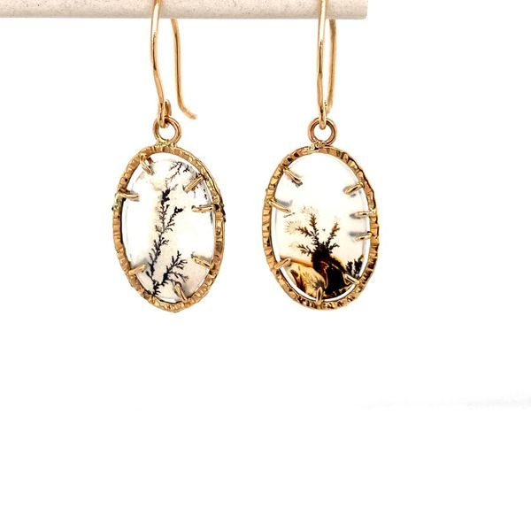14k Hammered Halo Gemstone Earrings Image 2 David Douglas Diamonds & Jewelry Marietta, GA