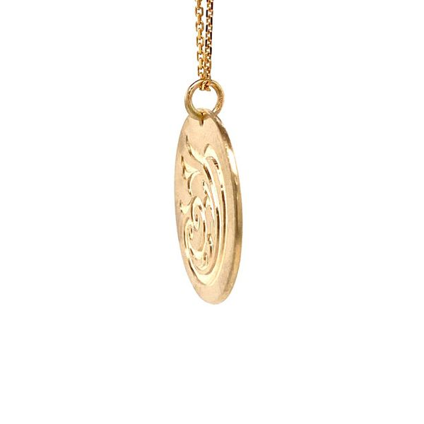 14k Hand Engraved Disc Necklace Image 2 David Douglas Diamonds & Jewelry Marietta, GA