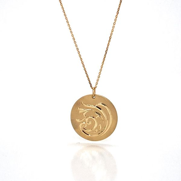 14k Hand Engraved Disc Necklace Image 3 David Douglas Diamonds & Jewelry Marietta, GA