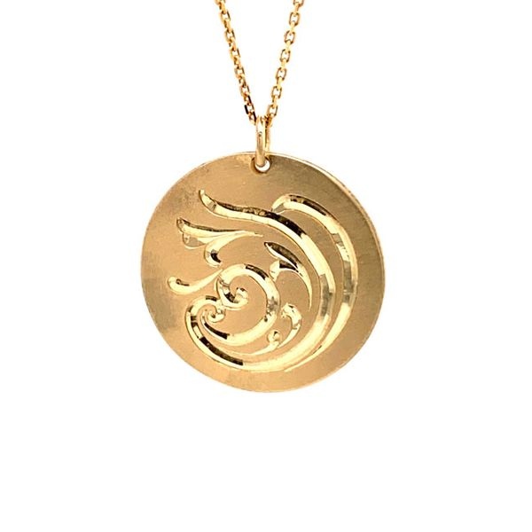 14k Hand Engraved Disc Necklace David Douglas Diamonds & Jewelry Marietta, GA