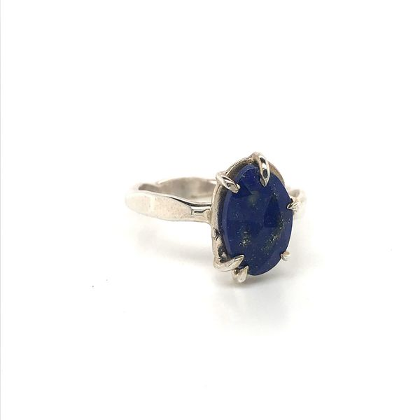 Sterling Silver Hammer Finish Lapis Ring Image 2 David Douglas Diamonds & Jewelry Marietta, GA