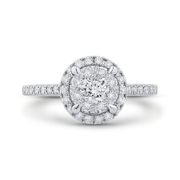 Luminous White Gold Round Halo Engagement Ring David Scott Fine Jewelry Panama City Beach, FL
