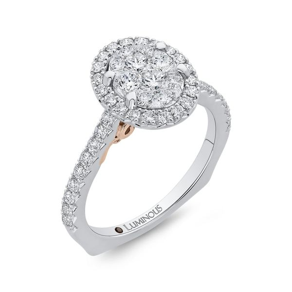 Luminous White Gold Oval Halo Engagement Ring Image 2 David Scott Fine Jewelry Panama City Beach, FL