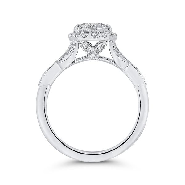 Luminous White Gold Oval Halo Engagement Ring Image 4 David Scott Fine Jewelry Panama City Beach, FL