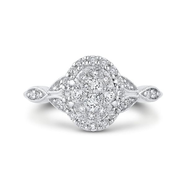 Luminous White Gold Oval Halo Engagement Ring David Scott Fine Jewelry Panama City Beach, FL