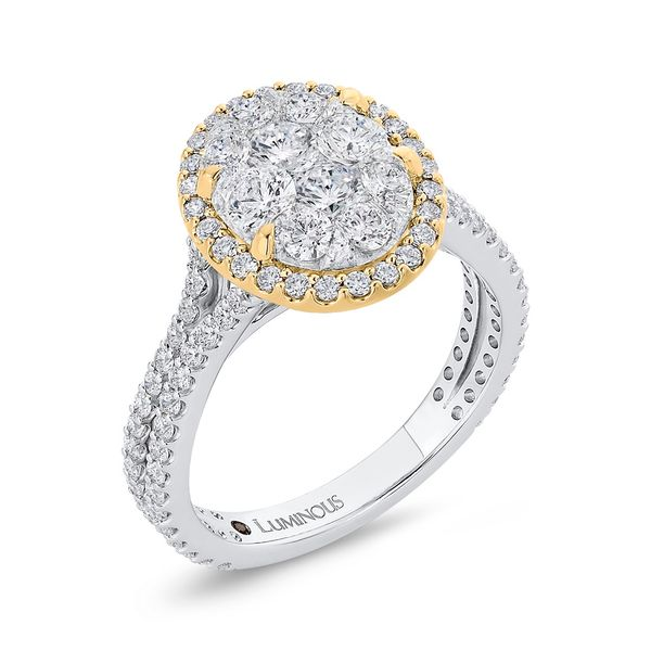 Luminous White And Yellow Gold Oval Halo Engagement Ring Image 2 David Scott Fine Jewelry Panama City Beach, FL