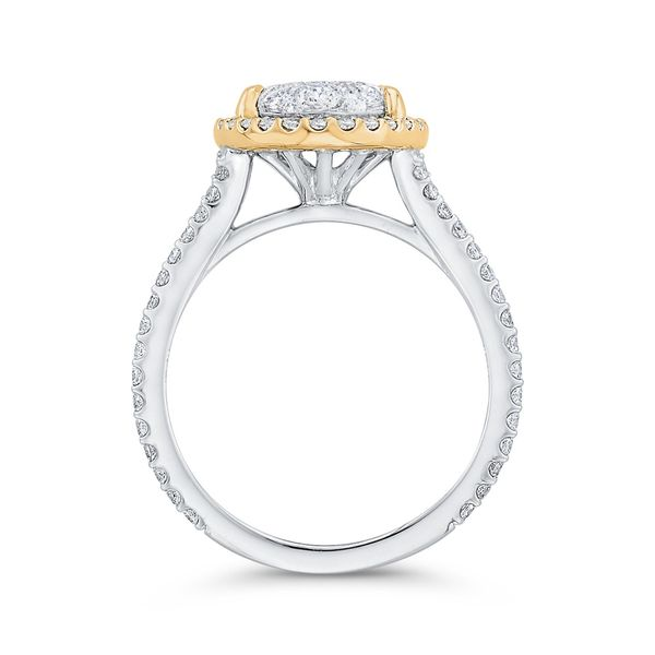 Luminous White And Yellow Gold Oval Halo Engagement Ring Image 4 David Scott Fine Jewelry Panama City Beach, FL