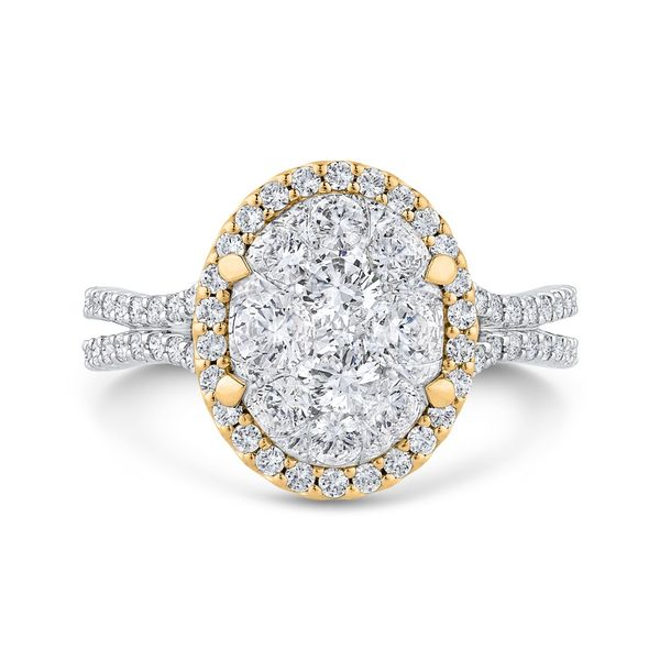 Luminous White And Yellow Gold Oval Halo Engagement Ring David Scott Fine Jewelry Panama City Beach, FL