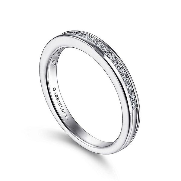 Gabriel & Co White Gold Channel Set Diamond Wedding Band Image 3 David Scott Fine Jewelry Panama City Beach, FL
