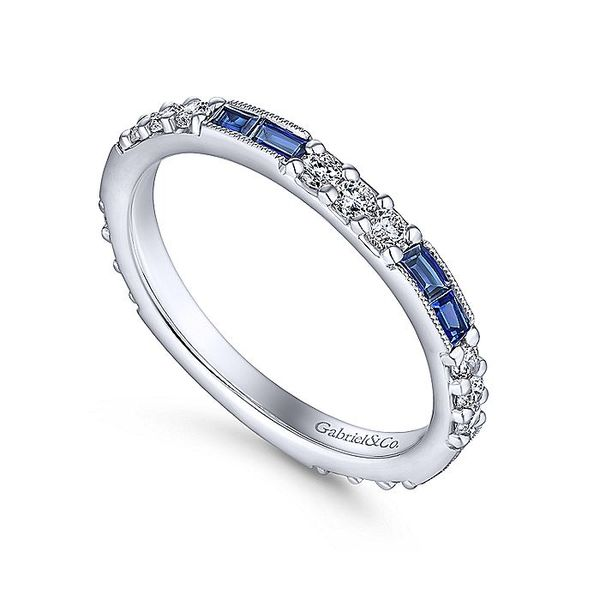 Gabriel & Co White Gold Sapphire And Diamond Stackable Band Image 3 David Scott Fine Jewelry Panama City Beach, FL
