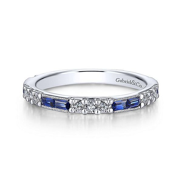 Gabriel & Co White Gold Sapphire And Diamond Stackable Band David Scott Fine Jewelry Panama City Beach, FL