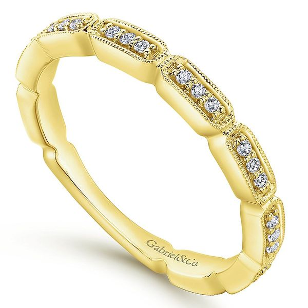 Gabriel & Co Yellow Gold Segmented Diamond Stackable Ring Image 3 David Scott Fine Jewelry Panama City Beach, FL