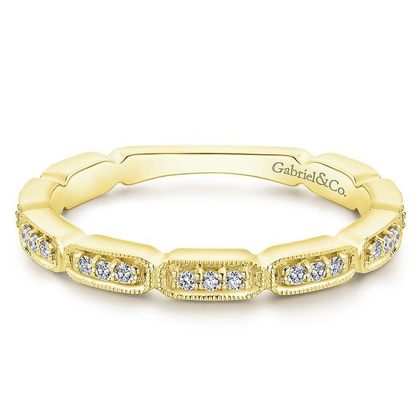 Gabriel & Co Yellow Gold Segmented Diamond Stackable Ring David Scott Fine Jewelry Panama City Beach, FL