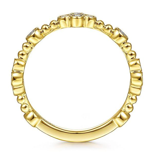 Gabriel & Co Yellow Gold Bezel Set Diamond Quatrefoil Station Ring Image 2 David Scott Fine Jewelry Panama City Beach, FL