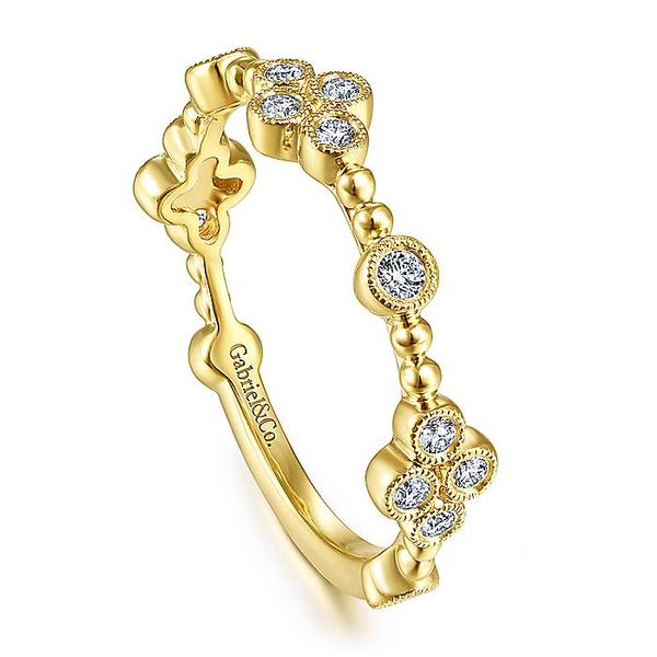Gabriel & Co Yellow Gold Bezel Set Diamond Quatrefoil Station Ring Image 3 David Scott Fine Jewelry Panama City Beach, FL