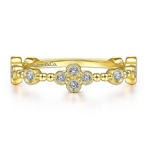 Gabriel & Co Yellow Gold Bezel Set Diamond Quatrefoil Station Ring David Scott Fine Jewelry Panama City Beach, FL