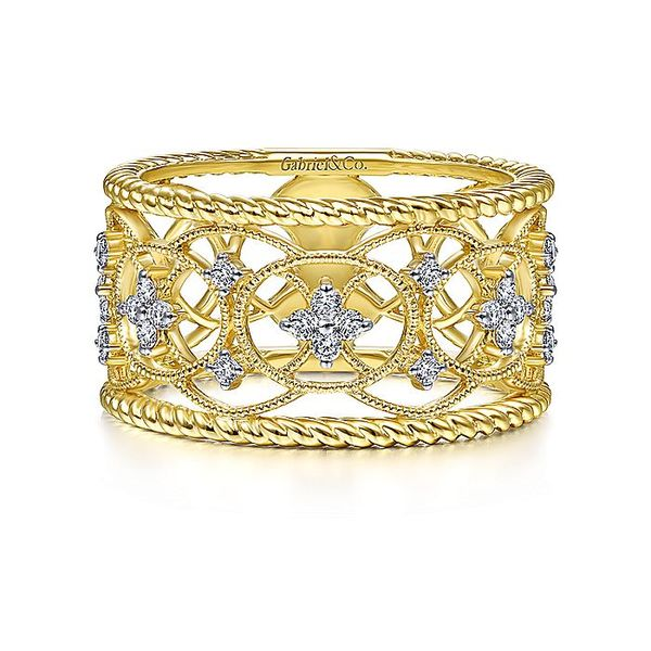 Gabriel & Co. Yellow Gold Diamond Fashion Band David Scott Fine Jewelry Panama City Beach, FL