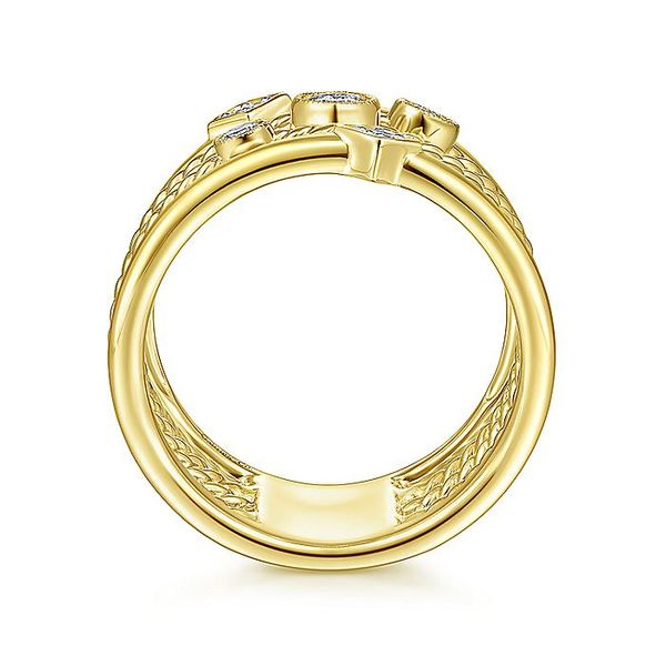 Ladies Gabriel & Co. Yellow Gold Multi Row Fashion Ring Image 2 David Scott Fine Jewelry Panama City Beach, FL