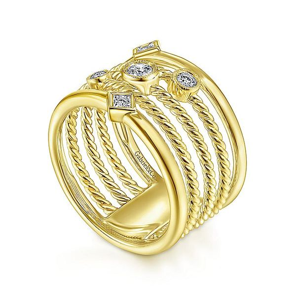 Ladies Gabriel & Co. Yellow Gold Multi Row Fashion Ring Image 3 David Scott Fine Jewelry Panama City Beach, FL