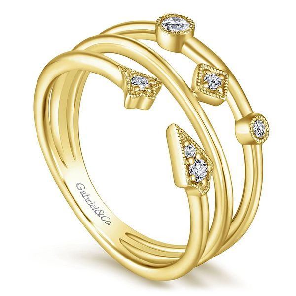 Gabriel & Co Yellow Gold Tri Band Diamond Station Ring Image 3 David Scott Fine Jewelry Panama City Beach, FL