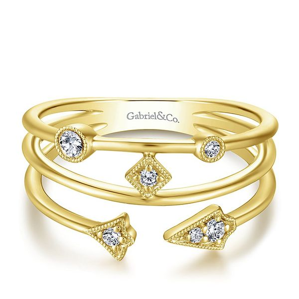 Gabriel & Co Yellow Gold Tri Band Diamond Station Ring David Scott Fine Jewelry Panama City Beach, FL