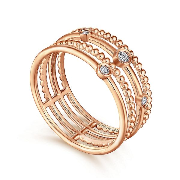 Gabriel & Co Rose Gold Four Row Diamond Fashion Ring Image 3 David Scott Fine Jewelry Panama City Beach, FL