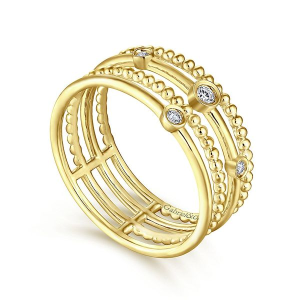 Gabriel & Co Yellow Gold Four Row Diamond Fashion Ring Image 3 David Scott Fine Jewelry Panama City Beach, FL