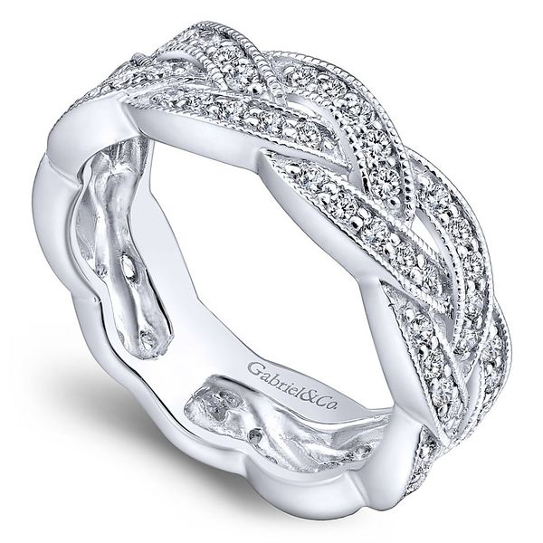 Gabriel & CO White Gold & Diamond Woven Band Image 3 David Scott Fine Jewelry Panama City Beach, FL